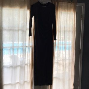 Black and gray sequins long dress